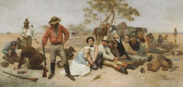 William Strutt Bushrangers, Victoria, Australia 1852 1887 oil on canvas The University of Melbourne Art Collection. Gift of the Russell and Mab Grimwade Bequest 1973