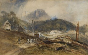 John Skinner Prout (1805-1876) No title (Probation Station, Mount Dromedary)1847 watercolour and gouache on paper The University of Melbourne Art Collection. Gift of the Russell and Mab Grimwade Bequest 1973