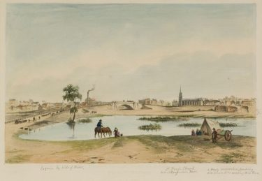 Image:  James Buckingham Philp (Lithographer) Thomas, Edmund (Artist) 'Prince's Bridge (from south side of Yarra), Melbourne' 1853 lithograph and watercolour  The University of Melbourne Art Collection. Gift of the Russell and Mab Grimwade Bequest 1973