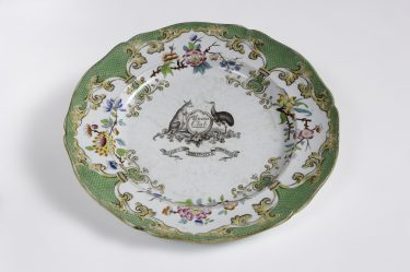 Minton & Doyle 'Plate from the Union Club, Hobart service' c. 1840 stone china  The University of Melbourne Art Collection. Gift of the Russell and Mab Grimwade Bequest 1973