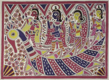 Amba Devi 'Lord Hanuman, Lord Rama, Sita and Lakshmana: triumphal return to Ayodhaya from Lanka in the aerial chariot' 1982 brush and ink on paper The University of Melbourne Art Collection. Purchased by the Department of Indian Studies, 1982
