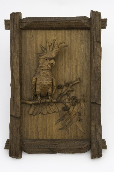 Robert Prenzel 'Untitled (Cockatoo)' 1915 Australian blackwood and other timbers The University of Melbourne Art Collection. Gift of the Russell and Mab Grimwade Bequest 1973