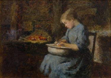 Frederick McCubbin 'Untitled (Sheila)' c 1912 oil on composition board The University of Melbourne Art Collection. Gift of Dr Samuel Arthur Ewing 1938