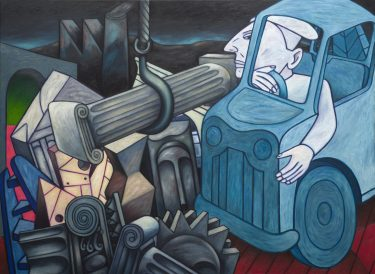 Euan Heng, 'Fortune Seeker' 1989, oil on linen, The University of Melbourne Art Collection. Gift of Marcello Donati, donated through the Australian Government's Cultural Gifts Program 2017