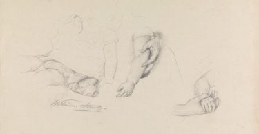 William Strutt 'Untitled (Three studies of a child)' pencil on paper The University of Melbourne Art Collection. Gift of Beverly Brown in memory of her father Dr Joseph Brown, AO OBE, 2015